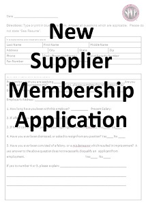 Application for New Supplier Membership