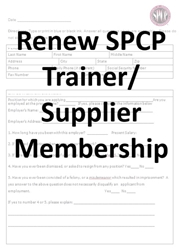 Application for Renewing Trainer/Supplier Membership